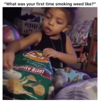 """Funny, Smoking, and Twitter: """"What was your first time smoking weed like?""""  amily Size 💀💀💀 👉🏽(via: shethafuckup-twitter)"""