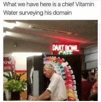 Funny, Water, and Vitamin Water: What we have here is a chief Vitamin  Water surveying his domain