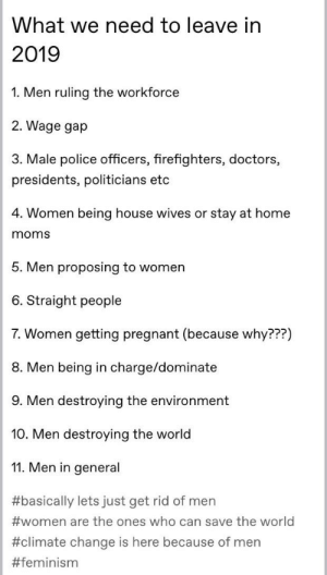 """Typical tumblr and their """"men are bad"""": What we need to leave in  2019  1. Men ruling the workforce  2. Wage gap  3. Male police officers, firefighters, doctors,  presidents, politicians etc  4. Women being house wives or stay at home  moms  5. Men proposing to women  6. Straight people  7. Women getting pregnant (because why???)  8. Men being in charge/dominate  9. Men destroying the environment  10. Men destroying the world  11. Men in general  #basically lets just get rid of men  #women are the ones who can save the world  #climate change is here because of men  Typical tumblr and their """"men are bad"""""""