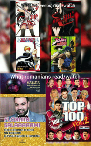 Only romanians will understand: What wel veebs) read/watch  HTAKARIN  kame kiliLERO  Akame eL  &BLEAGH  os  The Caeta irst Seasau  Tite Kuha  What romanians read/watch  MA.N.E.A.  Vedetele muzicii  de petrecere  Adi Vantu Dan Harciog  Vol. I  TOP  100  FLORIIN -  SALAAAAAM  CONTINE  100  UEUCLIFAN  vol.2  Regele neîncoronat al muzicii  fără prejudecăți  și dramele biografiei lui incredibile  BIG MAN  INTEGRAL Only romanians will understand