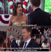 Aww, Barney, and Memes: What...what is going on?  owimetyourmotherthefanpage  I know how much you wanted to be in Canada this weeken  So, I brought Canada to you. {9x12} Aww Barney is such a cutie😍💙 -- Scene requested by @crazzy_someone himym howimetyourmother sitcom robinscherbatsky cobiesmulders barneystinson neilpatrickharris swarkles