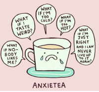 Social Media, Target, and Weird: WHAT  WHATIF  TASTE  WEIRD?  IFI'M  TOO  CoLD?/WHAT  IF I'M  Too  HOT?  WHAT  IF NO-  BODY  LIKES  ME?  WHAT  IF I'M  JUST  RIGHT  AND I CAN  NEVER  LIVE UP  AGAIN?  ANXIETEA Social Media Anxiety Disorder is a Legitimate Issue, Therapists Confirm