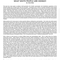 """What I'm reading right now... This is deep, but it all makes perfect sense! When you wake up and start seeking the truth, the truth will blow you away. Now wonder the government is white washing this world. White ppl came from BLACK'S 🤔 blackpower blackisbeautiful black african blackispower: WHAT WHITE PEOPLE ARE HIDING!!!  By: Amon Hotep  The time has come again to address world ignorance, the shadow government, and clandestine operations of the  deceitful people who currently think they rule the planet. Caucasians are not fully or normally developed human beings  but are only the inbred mutant albinos of their genetic masters-Black Africans. Do you know the real reason white people  perform laboratory experiments on white lab rats is because those white lab rats share the same genetic code as they  share? They share two common factors-the albino, and the inbreeding factor  Those white rats are bred for their  albinism and are deliberately inbred to mimic the genealogy of so-called """"Caucasians."""" White people perform experiments  on white rats to see how experiments potentially go over in the human Caucasoid population. If they want to know how  In the human world, if the  something will impact the normal population, the benchmark used is a normally colored rat  mpact the normal human population, their benchmark is a black human being. Black  want to know how something wi  humans contain the only fully developed genes and genealogy is the benchmark for normalcy. Inbreeding has caused the  gene pool of white people to become severely depleted, and whites have far less genetic diversity than their black genetic  masters  White people are far more prone to various genetic defects, malfunctions and disorders. Ever notice why white people  have far more tolerance for milk the most lactose tolerant? Since white people reflect sunlight with white skin, they do not  synthesize vitamin D like normal people, and this automatically decreases calcium levels in the blood. To com"""