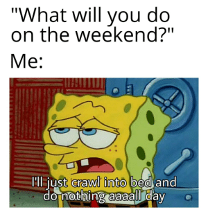 "Every weekends are the same: ""What will do  you  on the weekend?""  Me:  Ml just crawl into bed and  do nothing aaaall day Every weekends are the same"