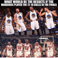 Basketball, Finals, and Golden State Warriors: WHAT WOULD BE THE RESULTS IF THE  WARRIORS PLAYED THE 72-10 BULLS IN THE FINALS  35  23  @NBAMEMES  91 Who ya'll got? [@nbamemes] WARRIORSTALK