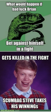 What would happenif  bad luck Brian  Betagainst himself  ina tight  GETS KILLED IN THE FIGHT  SCUMBAG STEVE TAKES  HIS WINNINGS  MEMEBASE.com <p>The Unlucky Truth</p>