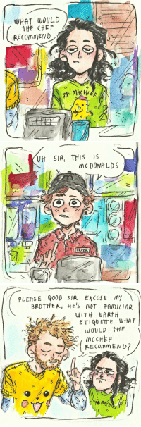 Funny, God, and Instagram: WHAT WOULD  THE CHEF  RECOMMEND   Vit S1A, THIS IS  mc DONA LDS   PLEASE fo0D SIR EXCUSE my  BROTHER, HE'S NOT FAMILIAR  ft darker-than-darkstorm:  mannersmakethfangirl:  birb-boy: i see a post i draw it oH MY GOD I LIVE FOR THIS  The original post: funny.The original post with Loki and Thor wearing those shirts: hilarious.