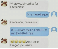 Memes, Nba, and NBA Finals: What would you like for  Christmas?  Give me a dragon  Cmon now, be realistic  OK.... I want the LA LAKERS to  win the NBA Finals  What color  Dragon you want? It is what it is, Lakers fans... (sent in by fan)   Snap👻: NationOfHoops