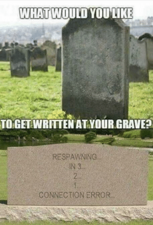 I forgot to save a checkpoint!!!: WHAT WOULD YOU LIKE  TO GET WRITTEN AT YOUR GRAVE?  RESPAWNING  IN 3..  2.  CONNECTION ERROR. I forgot to save a checkpoint!!!