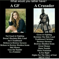 Feminism, God, and Memes: What would you rather have?  A GF  A Crusader  Not Good At Fighting  Doesn't Reclaim Holy Land  Isn't Traditional  Refuses to Destroy Saracen  Refuses to Destroy Heathen Scum  Shit Memes  Goes On Tumblr  Is a Feminist  Great At Fighting  Reclaims The Holy Land  Traditional Christian  Destroys Saracen  Destroys Heathen Scum  Great Memes  Hates Tumblr  Hates Feminism  Is Far Right  Fights For The Glory of God  DEUS VULT