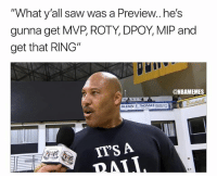 "Basketball, Los Angeles Lakers, and Nba: ""What y'all saw was a Preview..he's  gunna get MVP, ROTY, DPOY, MIP and  get that RING""  @NBAMEMES  GLENN E. THOMASOCACH  IT'S A He had 29pts, 11 reb, and 9 assists 😳 nbamemes nba lonzoball lakers"