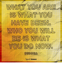 Memes, Buddha, and Http: WHAT YOU ARE  IS WHAT YOU  HAVE BEEN.  WHO YOU WILL  BE IS WHAT  YOU DO NOWa  BUDDHA  Spirit Science Each moment is an opportunity to step into your truest self! http:-bit.ly-2xleXF2