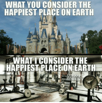 Gym, Earth, and Considering: WHAT YOU CONSIDER THE  HAPPIEST PLACE ON EARTH  WHAT I CONSIDER THE  HAPPIESTPLACE ON EARTH 😂💪 @officialdoyoueven