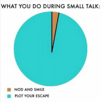 Memes, Smile, and 🤖: WHAT YOU DO DURING SMALL TALK:  NOD AND SMILE  PLOT YOUR ESCAPE 😑😑😂😂😂😂💯 pettypost pettyastheycome straightclownin hegotjokes jokesfordays itsjustjokespeople itsfunnytome funnyisfunny randomhumor
