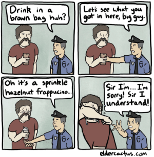 Some cops have been through a lot: what you  Drink in a  brown bag huh?  Let's see  got in here, big gu  Oh it's a sprinkle  hazelnut frappucin..  Sir I'm... I'm  Sorry! Sir I  understand!  eldercactus.com Some cops have been through a lot