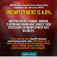 President Obama inherited a failing economy and now President Trump has inherited a growing economy. The challenge is to continue job growth with rising wages.: What you should know about jobs  numbers for January 2017  UNEMPLOYMENT IS 4.8%  ONLY PRESIDENTS TRUMAN, JOHNSON,  CLINTON AND OBAMA HAVE HANDED THEIR  SUCCESSORS AN UNEMPLOYMENT RATE  BELOW 5%  This will be the fourth lowest  unemployment rate  inherited by a  new president from his predecessor  since 1948, when monthly  unemployment rates began.  AFL-CIO President Obama inherited a failing economy and now President Trump has inherited a growing economy. The challenge is to continue job growth with rising wages.