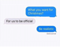 Christmas, Funny, and Lol: What you want for  Christmas?  For us to be official  Be realistic  Delivered Sikeee lol