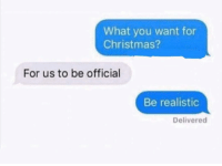 Christmas, Funny, and Lmao: What you want for  Christmas?  For us to be official  Be realistic  Delivered Sike lmao