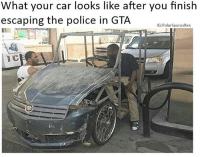 This man needs to be hired for making this work lmao: What your car looks like after you finish  escaping the police in GTA  G: Polar SaurusRex This man needs to be hired for making this work lmao