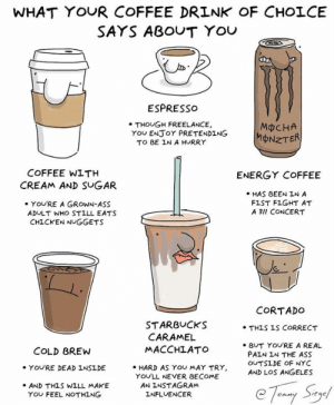 Which brew are you?   By Tommy Siegel: WHAT YOUR COFFEE DRINK OF CHOLCE  SAYS ABOUT YOU  ESPRESso  . THOUGH FREELANCE,  TO BE IN A HURRY  MCHA  MONZT  YOu ENJoY PRETENDING  COFFEE WITH  ENERGY COFFEE  CREAM AND SUGAR  HAS BEEN IN A  FIST FIGHT AT  A 3lI CONCERT  YOU'RE A GROWN-ASS  ADULT WHO STILL EATS  CHICKEN NUGGETS  CORTADO  STARBUCKS  MACCHLATO  . HARD AS YOU MAY TRY,  . THIS IS CORRECT  CARAMEL  e BUT YOURE A REAL  PAIN IN THE ASS  OUTSİDE OF NYC  AND LOS ANGELES  COLD BREW  YOU'RE DEAD INSIDE  YOU'LL NEVER BECOME  AN INSTAGRAM  INFLUENCER  .AND THLS WILL MAKE  YOU FEEL NOTHING Which brew are you?   By Tommy Siegel