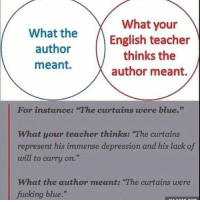 """Fucking, Memes, and Teacher: What your  What the  English teacher  author  thinks the  meant.  author meant.  For instance: The curtains were blue.""""  What your teacher thinks: """"The curtains  represent his immense depression and his lack of  will to carry on.""""  What the author meant: """"The curtains were  fucking blue."""" divergent harrypotter hungergames harrystyles onceuponatime onedirection selenagomez vampirediaries kendalljenner kyliejenner shadowhunters kimkardashian prettylittleliars gameofthrones walkingdead theojames emmawatson"""