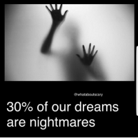 Creepy, Memes, and Ghost: @whataboutscary  30% of our dreams  are nightmares Spoopy -fer . . . horror spooky creepy scary creepyenemies terror haunted haunting nightmare moon sleep dream ghost