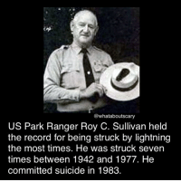 Memes, Lightning, and Record: @whataboutscary  US Park Ranger Roy C. Sullivan held  the record for being struck by lightning  the most times. He was struck seven  times between 1942 and 1977. He  committed suicide in 1983. Ahw ~Noa