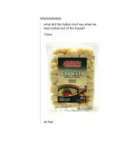 The Worst, Chef, and House: whataretweets  what did the Italian chef say when he  was locked out of his house?  I have  EMMA  Potal  GNOCCHI  REGULAR  REGULIER  500 g  okdayu  no key this is probably the worst pun I have ever made okdayum