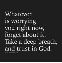 Memes, 🤖, and Deep: Whatever  is worrying  you right now,  forget about it.  Take a deep breath,  and trust in God  Trust God bro