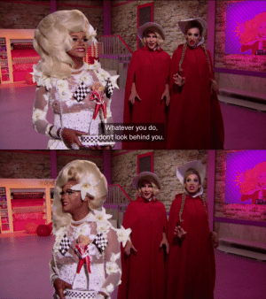 fruit-floral-nut:Chi Chi immediately disobeying Ru and then looking over the wrong shoulder was the comedic peak of this episode: Whatever you do,  don't look behind you.   nocd fruit-floral-nut:Chi Chi immediately disobeying Ru and then looking over the wrong shoulder was the comedic peak of this episode