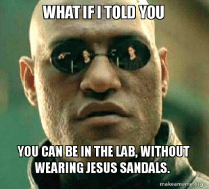Jesus, Sandals, and Can: WHATIFITOLD YOU  YOU CAN BE IN THE LAB, WITHOUT  WEARING JESUS SANDALS.  makeameme.org What if I told you You can be in the lab, without wearing Jesus ...