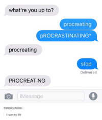 Dank, 🤖, and Stop: what're you up to?  procreating  pROCRASTINATING  procreating  stop  Delivered  PROCREATING  O Message  thebootydiaries:  i hate my life