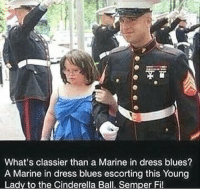 Semper Fi! 🇺🇸: What's classier than a Marine in dress blues?  A Marine in dress blues escorting this Young  Lady to the Cinderella Ball. Semper Fi Semper Fi! 🇺🇸