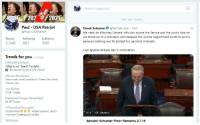 """Anaconda, Elizabeth Warren, and Ted: What's happening?  2022021  Paul USA Patriot  See new Tweets  Chuck Schumer@SenSchumer 25m  We need an Attorney General who can assure the Senate and the public that he  will stand up to a president who believes the Justice Department exists to do his  personal bidding and to protect his personal interests.  @Paul USAPatriot  Tweets FollowingFollowers  2,340 881  500  I will oppose William Barr's nomination.  Trends for you  #WhatMenWant  """"Hilarious! See t Tonight  . Change  Promoted by What Men Want  #GreenNewDeal  Democrats unveil ambitious 'Green New Deal  climate plan  Joy Behar  27.5K Tweets  National Prayer Breakfast  38.5K Tweets  #ThursdayThoughts  Nicole Anon, Adam Baldwin, and 5  more are Tweeting about this  5:14 10K viewers  Whitaker  Senator Schumer Floor Remarks 2.7.19"""