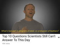 "Life, Memes, and Http: What's heavier? A kilogram of steel, or a kilogram of feathers?  Top 10 Questions Scientists Still Can't ,-  Answer To This Day  45K views <p>The search for intelligent life continues via /r/memes <a href=""http://ift.tt/2tZ8YCp"">http://ift.tt/2tZ8YCp</a></p>"