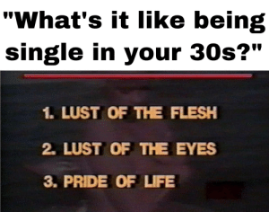 "Life, Meme, and Good: ""What's it like being  single in your 30s?""  1. LUST OF THE FLESH  2. LUST OF THE EYES  3. PRIDE OF LIFE The Satanic Panic™️ produced some good meme material"