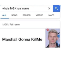 Memes, Mgk, and News: whats MGK real name  ALL NEWS IMAGES VIDEOS MAPS  MGK Full name  Hy  Marshall Gonna KillMe Damn the name is epic