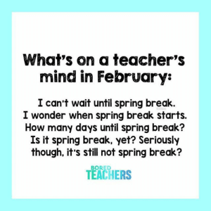 Bored, Spring Break, and Break: What's on a teacher's  mind in February:  I can't wait until spring break.  I wonder when spring break starts.  How many days until spring break?  Is it spring break. yet? Seriously  though, it's still not spring break?  BORED  TEACHERS Seriously though...