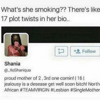 Bitch, Memes, and Smoking: What's she smoking?? There's like  17 plot twists in her bio..  | |坦Follow  Shania  XoShaniqua  proud mother of 2,3rd one comin! | 16I  jealousy is a desease get well soon bitch! North  African Tf 💀💀