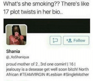 Bitch, Memes, and Smoking: What's she smoking?? There's like  17 plot twists in her bio.  | P ) |  Follow )  Shania  @XoShaniqua  proud mother of 2,3rd one comin! | 16|  jealousy is a desease get well soon bitch! North  African #teamvirgin mother. via /r/memes https://ift.tt/2CZhgAx