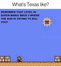 Dank, Super Mario, and Super Mario Bros: What's Texas like?  REMEMBER THAT LEVEL IN  SUPER MARIO BROS 3 WHERE  THE SUN IS TRYING TO KILL  YOU?  aud