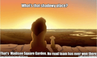 New York Knicks, Meme, and Memes: Whats that shadowy place?  That's Madison Square Garden. No road team has ever won there Knicks Nation! Credit: New York Knicks Memes  http://whatdoumeme.com/meme/bijhdf