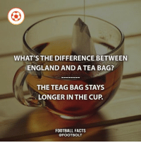 England, Facts, and Football: WHAT'S THE DIFFERENCE BETWEEN  ENGLAND AND A TEA BAG?  THE TEAG BAG STAYS  LONGER IN THE CUP  FOOTBALL FACTS I'm going to post memes from now on too. - jokes memes lol @footbolt
