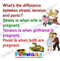 stress: What's the difference  between stress, tension  and panic?  Stress is when wife is  pregnant,  Tension is when girlfriend is  pregnant,  Panic is when both are  pregnant.  Forset Gumwaa Have Funwaa