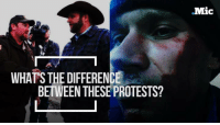 America: where peaceful activists are brutalized by the police but heavily armed protesters are greeted cordially.: WHAT'S THE DIFFERENCE  BETWEEN THESE PROTESTS?  Mic America: where peaceful activists are brutalized by the police but heavily armed protesters are greeted cordially.