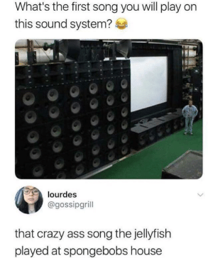 Ass, Crazy, and Best: What's the first song you will play on  this sound system?  lourdes  @gossipgrill  that crazy ass song the jellyfish  played at spongebobs house The best answer possible