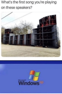 Funny, Meme, and Microsoft: What's the first song you're playing  on these speakers?  Microsoft  Windows Windows XP - meme.