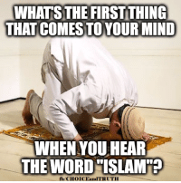"Memes, Islam, and Word: WHATS THE FIRST THING  THAT COMES TOYOUR MIND  WHEN YOU HEAR  THE WORD ""ISLAM  fb/CHOICEandTRUTH Q: What's the first thing that comes to your mind when you hear the word ""Islam""?"