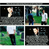 "Memes, 🤖, and Graves: What's the most embarrassing story you can tell us about Jared?  Jared was trying to pump up for a scene he  had, putting on same weight, and we were  in a graveyard scene and we were  supposed  to be digging a grave, and he takes the  shovel and makes a big downward swing and  the back of his pantsjust ripped wide open.  lfyou see that outtake you'll notice that  I'm laughing hysterically, probably more  than should be, but it was funny, because  he was telling me: ""Man, I'm putting on this  weight, retaining all this water""and then  he does that and his pants rip and  Ijust couldn't hold it in, it was hilarious. Haha"