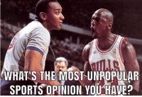 1. Joe Namath is the most overrated QB in NFL history.  2. Barry Bonds is the greatest hitter of all-time.   3. Bill Russell is great, but is highly overrated as an NBA legend.  4. NASCAR is not a sport.  5. Rockets would've beaten Jordan & the Bulls in the Finals in either 1994 or 1995 if he hadn't retired. (I'm aware he was back for the '95 playoffs & got eliminated by the Magic): WHAT'S THE MOST UNPOPULAR  . SPORTSOPINION YOU HAVE? 1. Joe Namath is the most overrated QB in NFL history.  2. Barry Bonds is the greatest hitter of all-time.   3. Bill Russell is great, but is highly overrated as an NBA legend.  4. NASCAR is not a sport.  5. Rockets would've beaten Jordan & the Bulls in the Finals in either 1994 or 1995 if he hadn't retired. (I'm aware he was back for the '95 playoffs & got eliminated by the Magic)